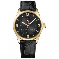Tommy Hilfiger Men's Table Black Leather Strap 1791331