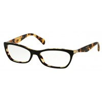 Prada VPR 15PA NAI 101 Eyeglasses Top Black Medium Havana