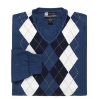 David Leadbetter Argyle V-Neck Sweater